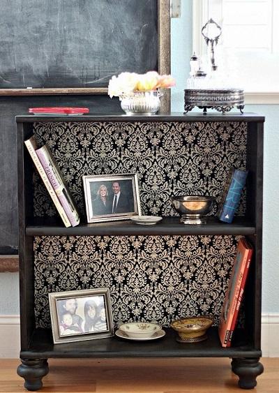 Decorar muebles con papel pintado tul de seda - Forrar muebles con papel pintado ...