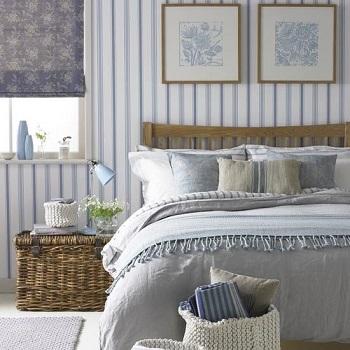 Papel pintado a rayas descubre su versatilidad tul de seda - Dormitorios pintados a rayas ...