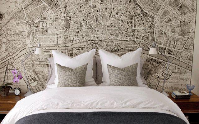 Decoraci n de dormitorios con papel pintado tul de seda - Cabecero papel pintado ...