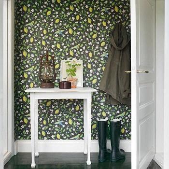 decorar con papel pintado un recibidor tul de seda