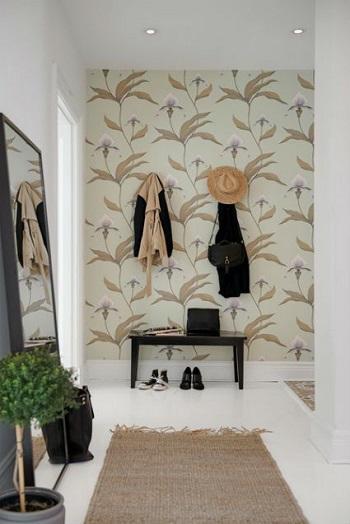 Decorar con papel pintado un recibidor tul de seda - Decorar con papel pintado y pintura ...